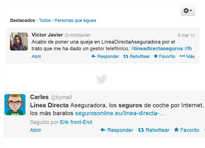 Linea directa opiniones twitter