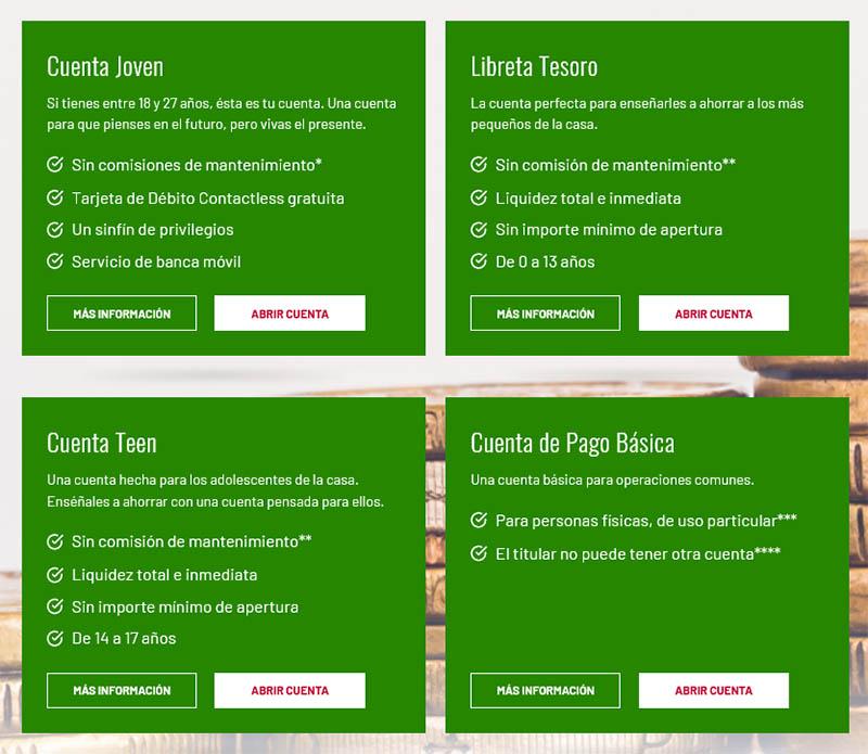 Univia tipos de cuentas del banco Unicaja